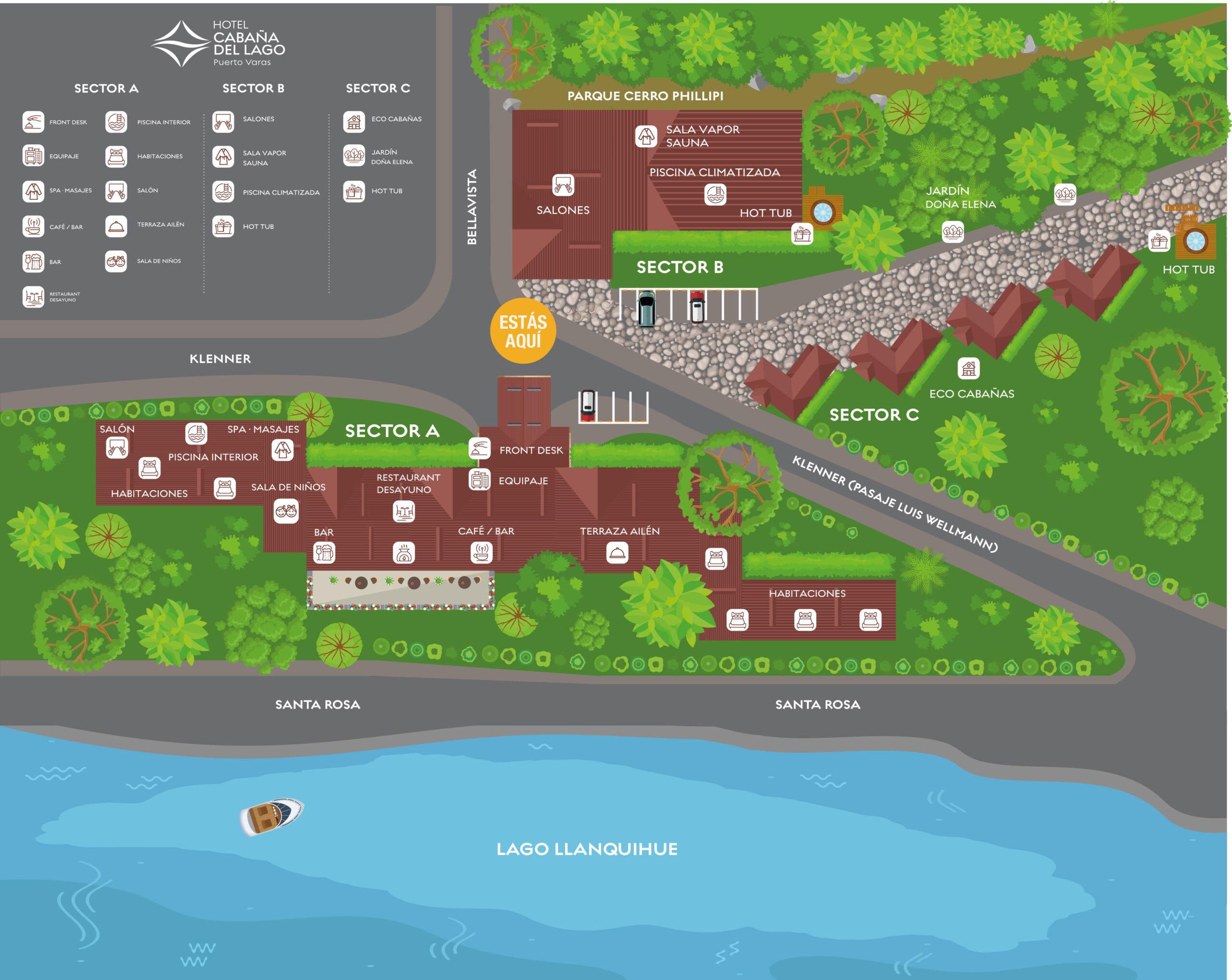 plano hotel cabaña del lago
